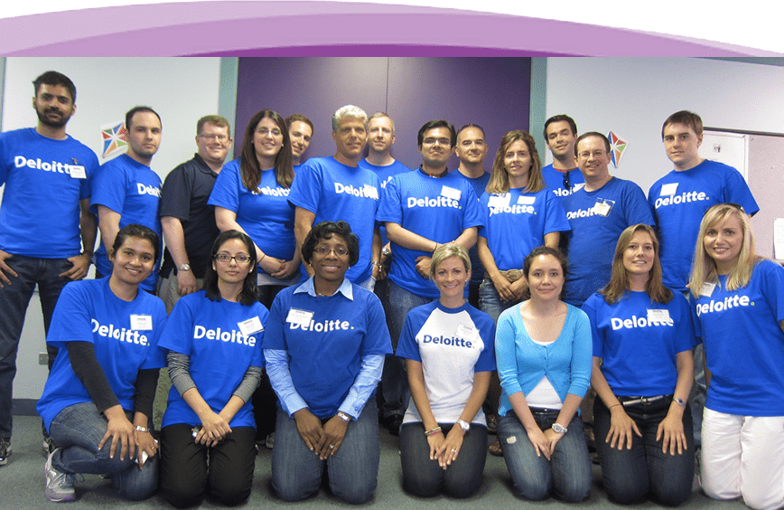 A great group of people from Deloitte volunteering their time at Anixter Center.