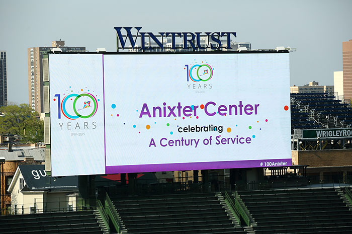 Anixter Center A Century of Service on the jumbotron at Wrigley Field