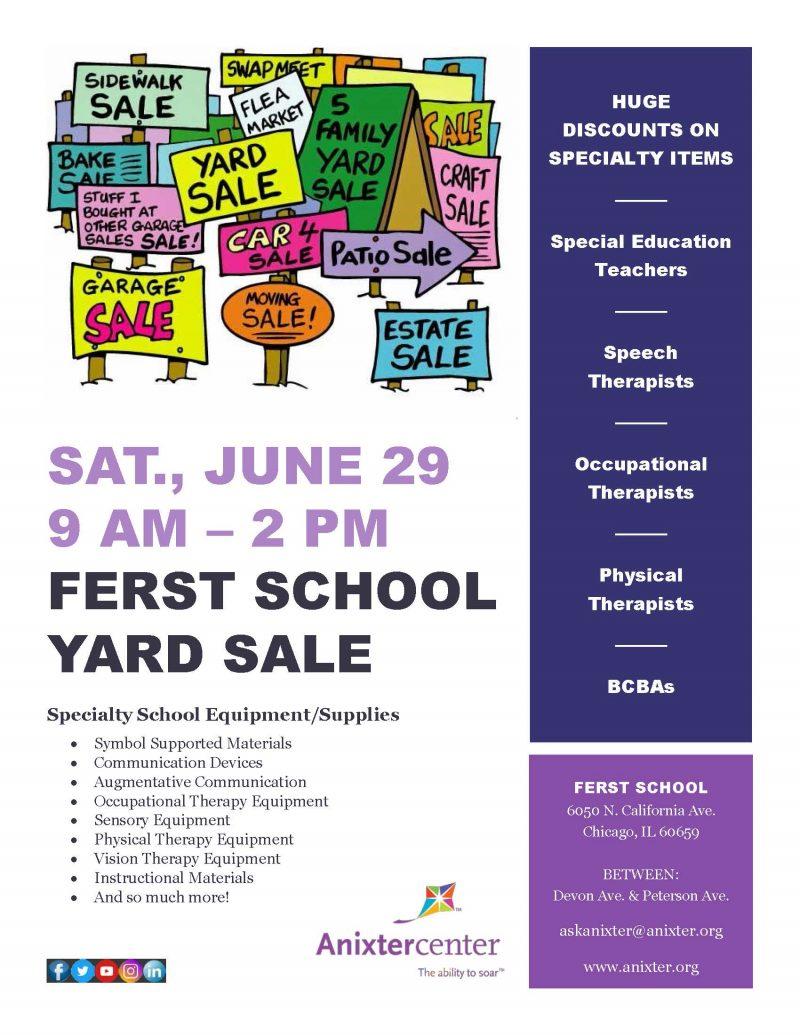 Ferst School-Anixter Center Yard Sale flyer