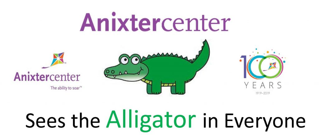 Anixter Center logo-100 year logo-Sees the Alligator in Everyone-pic of alligator