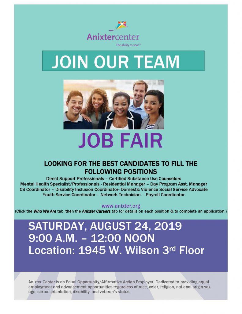Anixter Center Job Fair 08-24-19 9 am 0 12 pm at 1945 W. Wilson Ave. 3rd floor