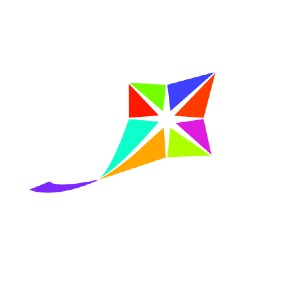 Anixter Center logo: a colorful kite with a streaming purple tail